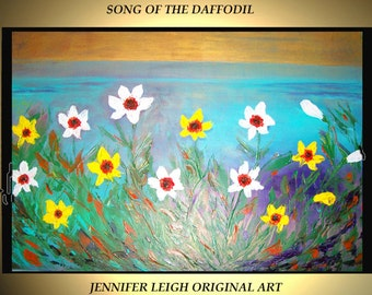 Original Large Abstract Painting Acrylic Painting Modern Oil Painting Blue Gold Daffodil Flowers Yellow 36x24 Texture Palette Knife J.Leigh