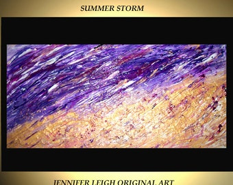"""Original Large Abstract Painting Modern Acrylic Oil Painting Canvas Art Gold Purple SUMMER STORM Rain  48x24"""" Palette Knife Texture  J.LEIGH"""