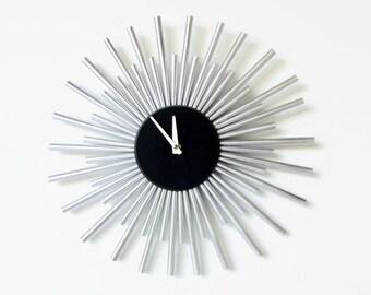 Wall Clock, Sunburst Clock, Mad Men Clock, Silver  Wall Clock, Living Room Clock,  Home Decor, Decor and Housewares