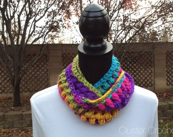 Passion Necklace Skinny Infinity Eternity Cowl Scarf Cluster Crochet