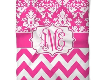 Personalized Damask Chevron Fleece Blanket- Many Colors!