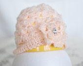 Spring beautiful hat for little baby girl, pretty floral pattern, crochet flower