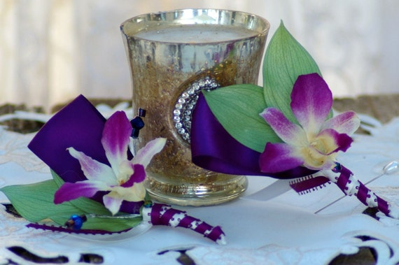 Real Preserved Purple Orchid Bridal Boutonniere