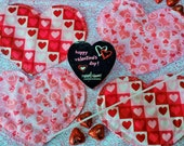 QUILTED COASTERS HEART shaped for Valentine's Day, Sweetest Day, Anniversaries, Weddings, etc., with Pink Red Hearts mini