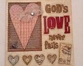 Mixed Media Canvas Board, 8x8, God's Love Never Fails