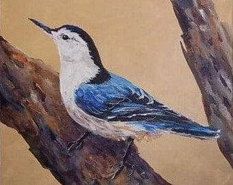 White-Breasted Nuthatch, Original 6x8 inches