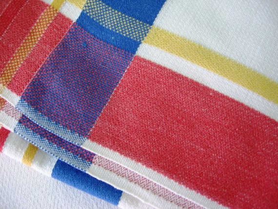 Vintage Plaid Tablecloth Red White Blue And Yellow Bold Design