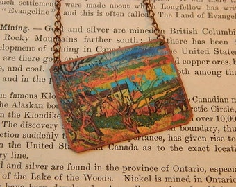 Art necklace Paul Gauguin mixed media jewelry