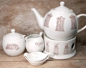 Doctor Who Tea Set with Teapot, Creamer and Sugar Bowl, Tea Strainer and Spoon, Teapot Warmer, Doctor Who Tea Lover,