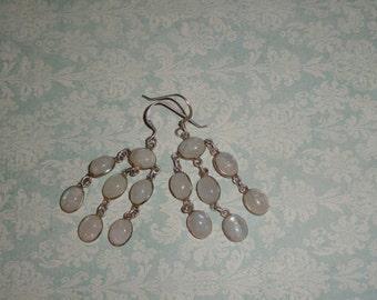 925 Sterling Silver & Rainbow Moonstone Dangle Chandier Drop Pierced Earrings