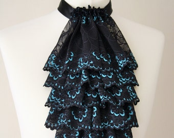 Black with light blue color lace jabot FREE UK SHIPPING