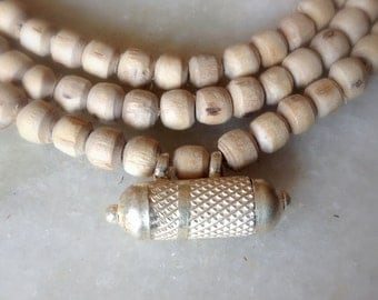 Tulsi 5mm Premium Round Tulasi Kanthi Necklace Choker with Kavach filled with Vrindavan Dust Ganga Water Gangaajal Ganges