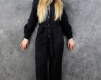 Vintage 70's Sexy Black Jumpsuit Size small Romper One Piece Pantsuit Black Cat Suit by Pepper Tree