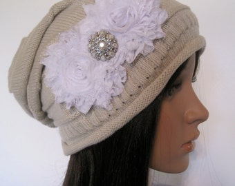 Tan Knit Slouch Beanie Winter Hat with White Chiffon Flowers and a Pearl.  Accent Hats Accessories Beanies Winter Hats