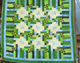 76 x 76 Inch Hand Made Green and Blue Batik Pinwheel Quilt