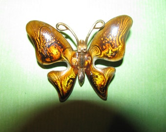 Vintage Signed Emmons Gold Tone Groovy Ti Dyed Browns Yellows Enamel Butterfly Brooch Pin