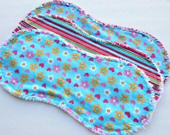 Burp cloths contoured, baby girl.  Ragged edges, burp rags, flowers, hearts, set of 3, burp rags, burp clothes, stripes