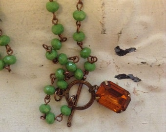 Moss Green And Topaz Glass Beaded Necklace. Art Deco Vintage Amber Glass Stone Moss Green Rosary Chain Necklace. Crow and Company
