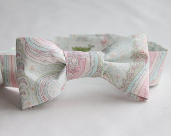 Pastel Paisley Infant/Baby/Toddler Bow Tie and/or Suspender Set- Great Photo Prop, Cute for Weddings, Cake Smashing