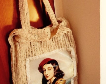 MELLIFLEURS borsa fatta a mano con filo di canapa italiana,eseguita a uncinetto,pezzo unico,Made in Italy