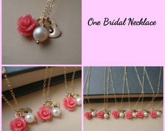 Bridal Necklace, Bridesmaids Jewelry, Wedding Jewelry, Wedding Accessories, Bridal Party, Bridesmaids Necklaces, Gold Heart Necklace