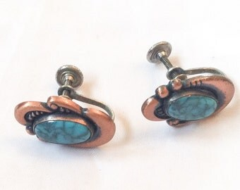 Turquoise Earrings, Screw Back, 1940s Copper Vintage Jewelry, CHRISTMAS in JULY SALE