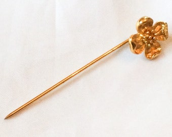 Trifari, Flower Stick Pin or Hat Pin ,Gold Tone, Vintage Accessories SPRING SALE