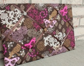 READY TO SHIP! French Style message board Photo Organizer for pictures and memo - Bright Pink Brown butterfly floral