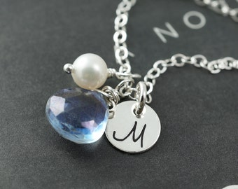 Silver disc stamped necklace, blue gemstone personalized necklace, bridesmaids gift, asking a bridesmaid