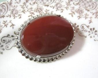 Carnelian Cameo Brooch Silver Tone 1970s Estate Stone Pin Cabochon Style Semi Precious