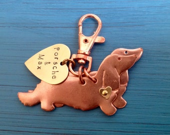 NEW Two Longhaired Dachshund Keychain. Doxie. Custom Copper Dachshund Jewelry.