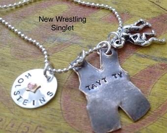 NEW Wrestling Singlet Mom Girlfriend. Wrestler.  Grandma Necklace Sports Jewelry Team