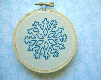 Blue Snowflake Holiday Decoration Holiday Ornament - Hand Embroidery  3 inch embroidery hoop art, wall decor