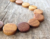 "16"" Strand 20mm Brown Wood Round Flat Disc Beads, Jewelry Making, DIY, Craft Supplies, Jewelry Supplies"