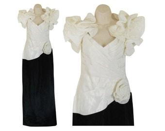 80s Cocktail Dress 80s Evening Dress Long Cocktail Dress Black White Dress Maxi Dress Black Avant Garde Floral Dress full Length Dress Floor