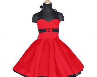 Girls 50's dress for petticoat custom made in uni red black