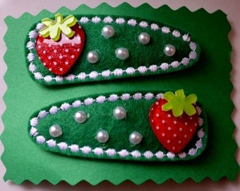 Hair Accessories - Handmade - 2 Green Felt Covered Snap Clips - Strawberries and Pearls Embellish the Top