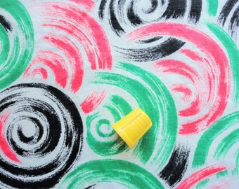 bright swirl print vintage cotton fabric -- 35 1/2 wide by 2 yards