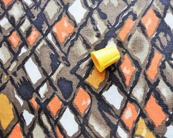 tan, brown, black and burnt orange abstract print vintage cotton fabric -- 36 wide by the yard