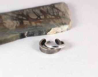 2 Cuff Earring Set: 3mm Distressed and 1.75mm Half Round Polished Silver Ear Cuffs, Sterling Silver, Made to Order