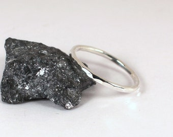Single Hammered Stacking Ring, Sterling Silver, Made to Order
