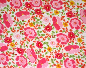 Vintage yardage of floral cotton jersey pinks, yellow and green 2 yards