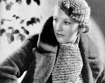 "Vintage 30s Knitted ""Scarf & Cap"" PDF Pattern - INSTANT DOWNLOAD"