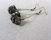 Black + Gold Hoop Earrings, Galaxy Chandelier Earrings, Czech Glass Earrings