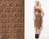 Vintage Crochet MOSCHINO Designer Open weave Gold 90s Dress // Lace Boho Hippe // Brown White Gold //