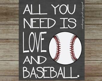 Instant Upload Baseball Wall Art Baseball Home Decor All You Need Is Love And Baseball
