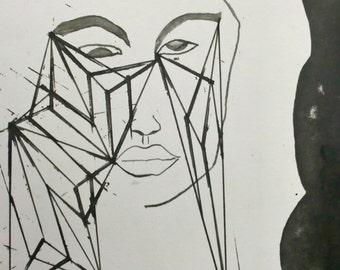 "Original Stylish Line Drawing 9.5x11.75 ""Thinking Cubes"""