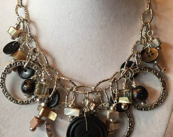 Hammered Rings & VINTAGE button necklace