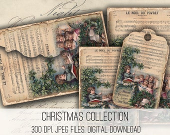 Digital Collage Sheet Download - Christmas Envelopes, Tags & Cards -  1145  - Digital Paper - Instant Download Printables