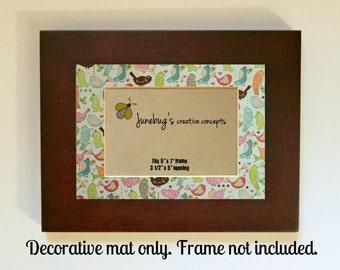 Decorative Mat fits 5x7 8x10 Photo Frame Retro Baby Birds